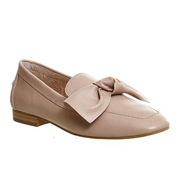 Office Possum Bow Loafer Nude Leather - Flats