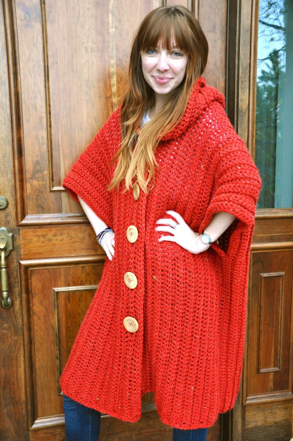 Crochet hooded poncho in red. Looks easy enought to make a pattern.