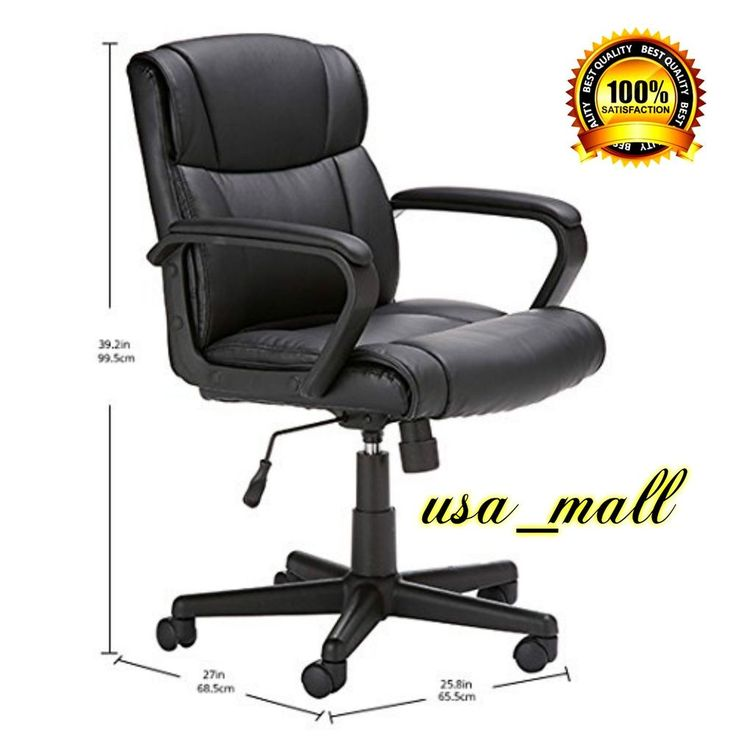 Mid-Back Office Chair Dual-Wheel Casters Bonded Leather Padded Seat Comfort New #OfficeChair
