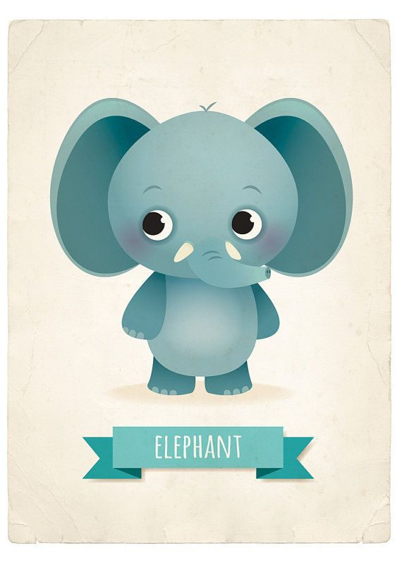 Elephant art print nursery illustration 5x7in by ...