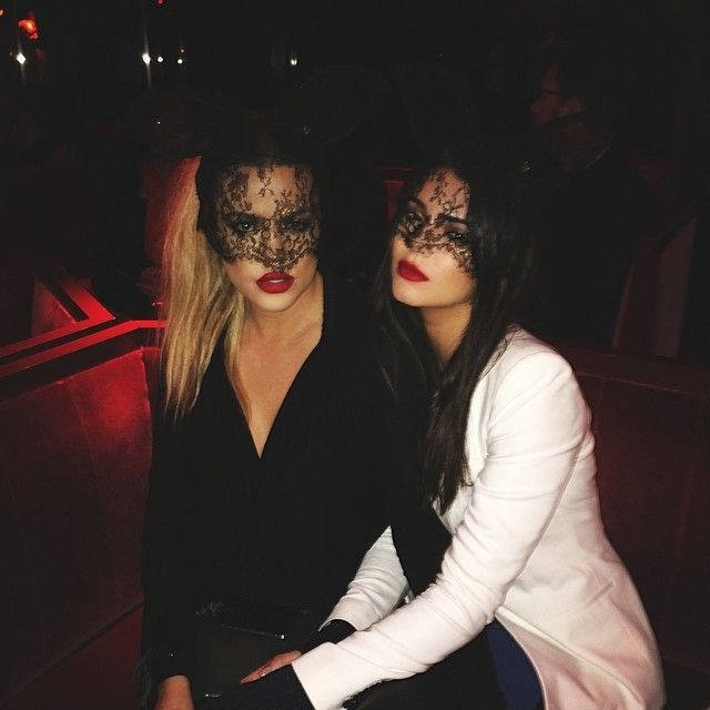 Khloe Kardashian and Kendall Jenner veil up for a night at the famed cabaret club Crazy Horse Paris