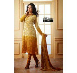 Buy Dinnar Georgette Cream and Gold Semi Stitched Salwar Suit at Socrase.com