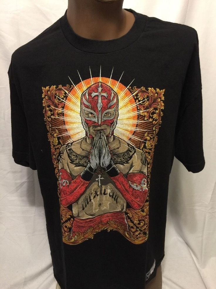 WWE Rey Mysterio Graphic Tshirt XL AUTHENTIC WEAR WWF WRESTLING Mask #WWE