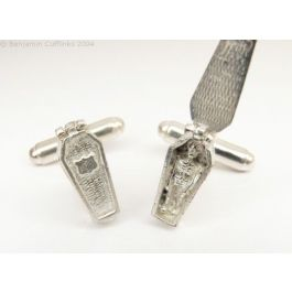 Solid Silver Coffins Cufflinks - yes these open!