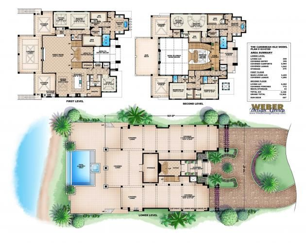 Coastal floor plan caribbean isle house 6 bed 4 1 2 for Caribbean home plans