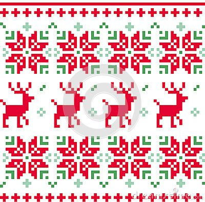 Christmas knitted pattern with reindeer and floral ornaments