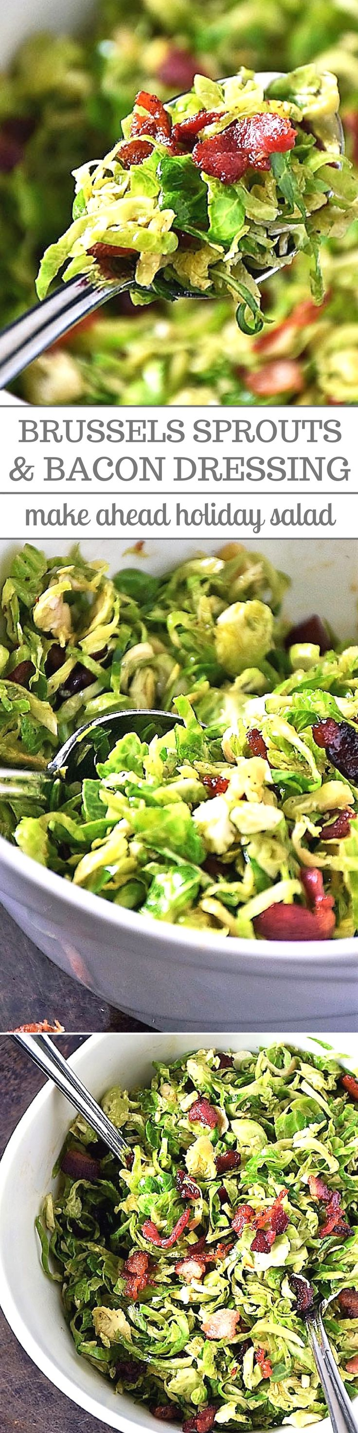 Shredded Brussels Sprouts with Bacon Dressing will make even the pickiest eaters fall in love with Brussels sprouts! Shredded Brussels sprouts are tossed with a deliciously savory bacon dressing for a simple salad everyone will love! #HolidayRecipes #SaladRecipes #BrusselsSprouts #BaconRecipes