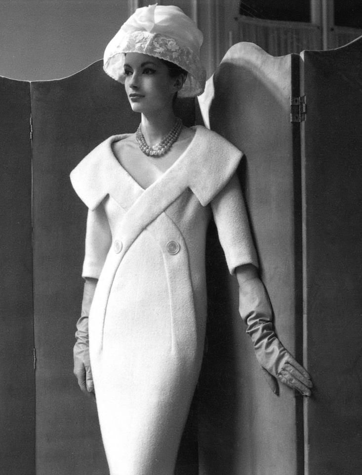 Pierre Cardin ~ Paris 1956 fascinating rare design white modern dress portrait wide collar shift sheath 3/4 sleeves vintage fashions style designer couture gloves hat photo print ad model magazine space age unique