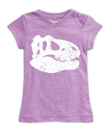 Another great find on #zulily! Heather Mauve Dino Skull Fitted Tee - Toddler & Girls #zulilyfinds