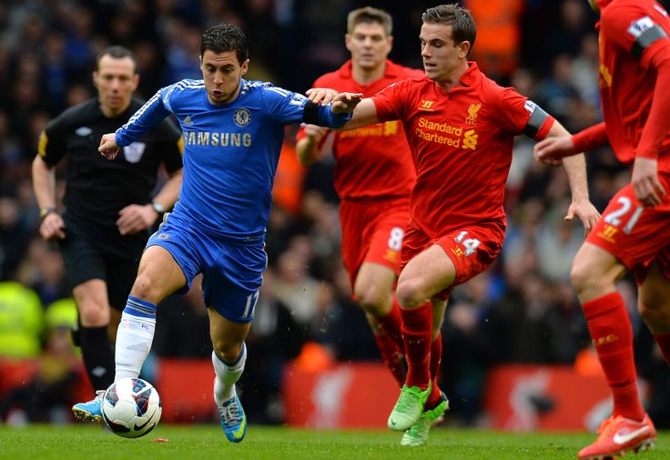 Eden Hazard of Chelsea FC against Liverpool FC