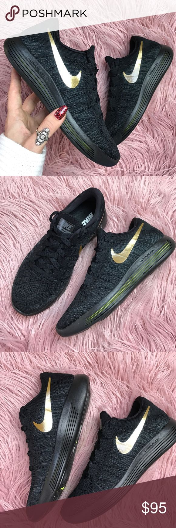 NWT Nike ID black gold swoosh Flyknit Brand new no box custom made Nike ID lunarepic Flyknit size men's 6-women's 7.5,price is firm!! •Lunarlon cushioning helps absorb impact and creates a smooth heel-to-toe transition •Raised rubber on the outsole cushions landings where you need it most •Forefoot perforations enhance breathability •Flywire technology integrates with the laces for a secure, locked-down fit Nike Shoes Sneakers