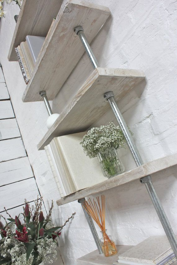 Robyn Adjustable Reclaimed white-washed Scaffolding Boards and Galvanised Steel…