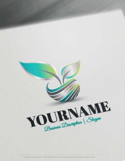 Create a Logo Free - 3D Leaf Logo ReadymadeOnline logo template decorated with 3D Leaf logo image. This professional logos greatfor branding Environmental companies, Parks and Nature reserves, Eco friendly Products, BeautyProducts, healthProductsetc.    How to design free logo online? 1- Customize This logo with our free logo maker tool -Change you company name, slogan, colors & fonts. 2- #GreatBusinessCardMakers