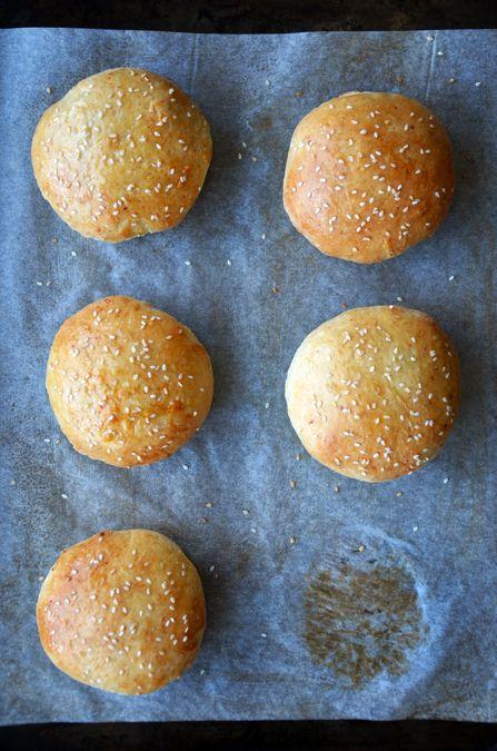 Easy Homemade Parmesan Hamburger Buns from justataste.com