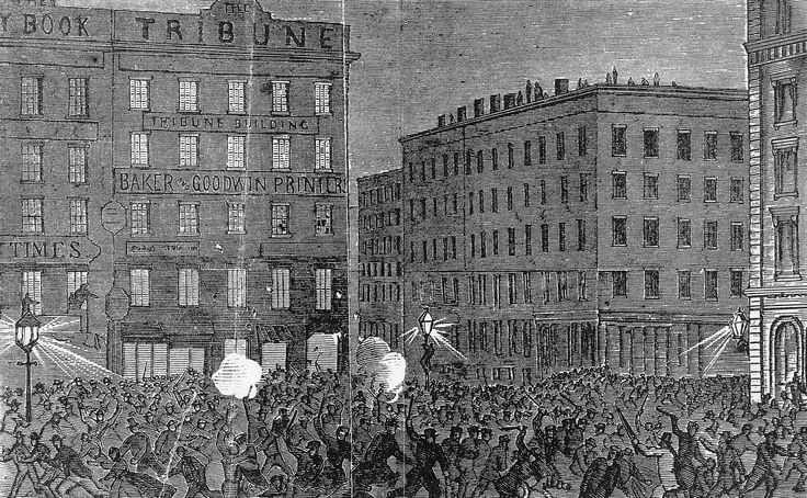 Rioters attacking the offices of the New York Tribune, a leading Republican newspaper, during the Draft Riot of 1863.  Library of Congress, Washington, D.C.