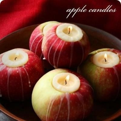 Tea lights in apples