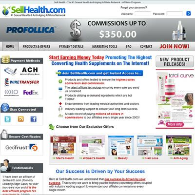 SellHealth.com #1 Sexual Heath & Anti - Aging Affiliate Network