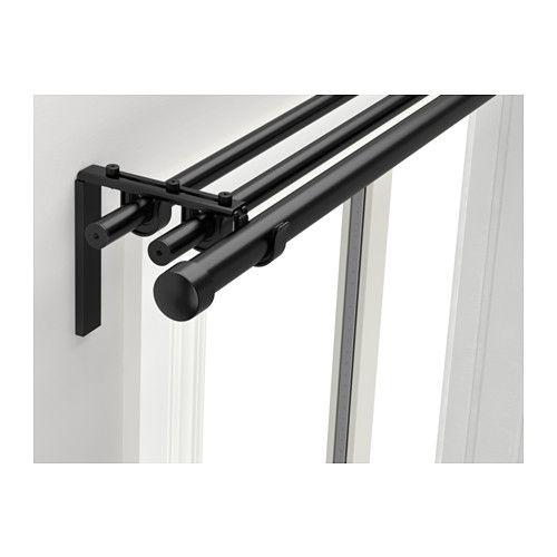 IKEA - RÄCKA / HUGAD, Gardinenstangenkomb. 3-fach, Mit dem Set lassen sich 3 Gardinenlagen - sowohl feine als auch festere Materialien - aufhängen.In der Länge verstellbar.