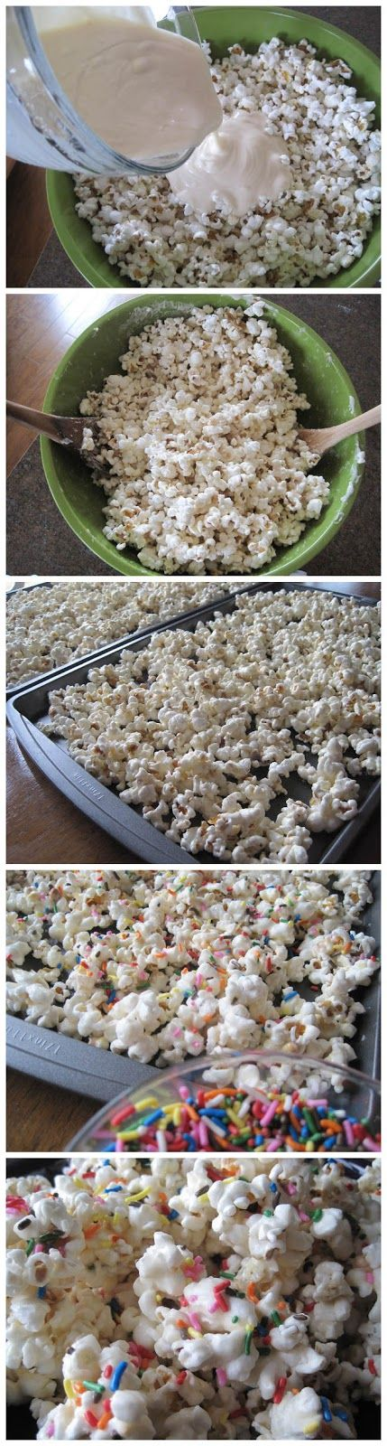 Birthday Cake Batter Popcorn with sprinkles! Perfect for any holiday or birthday, just change the color of the sprinkles!  SO easy to make!   | Mrs. Schwartz's Kitchen
