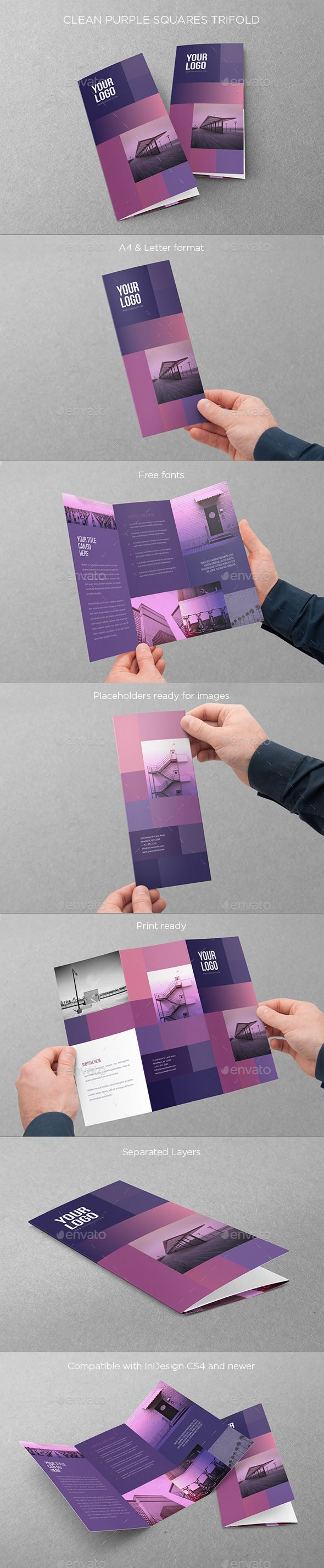 Clean Purple Squares Trifold - Brochures Print Templates