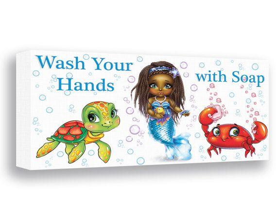 Mermaid Bathroom Decor African American Girls Bathroom Sign Wash Your Hands  Canvas Print Baby Mermaid Wall Art Ocean Crab Art Sea Turtle Art