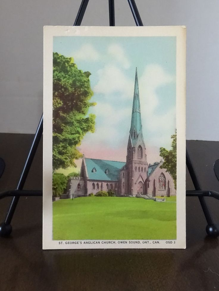 St. George's Anglican  Church Owen Sound, Ontario, Vintage Postcard