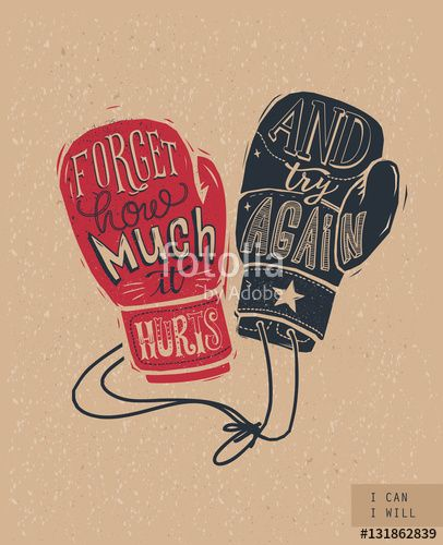 Vetor: Silhouette of boxing gloves with handwritten lettering inside and craft paper background. Fight and struggle concept. Vector illustration in vintage style for motivational poster, postcard, banner.