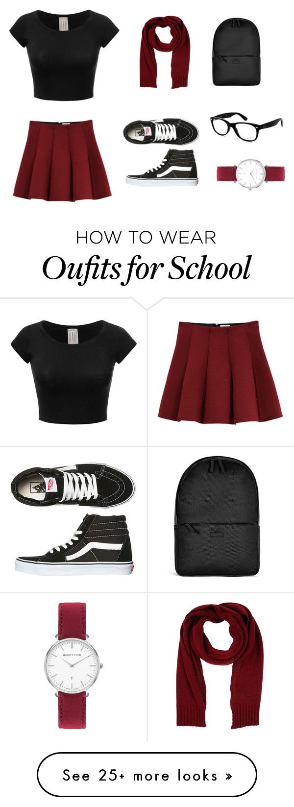 """""""school outfit"""" by hanie1111 on Polyvore featuring Outstanding Ordinary, Vans, Rains, Annarita N. and Ray-Ban"""