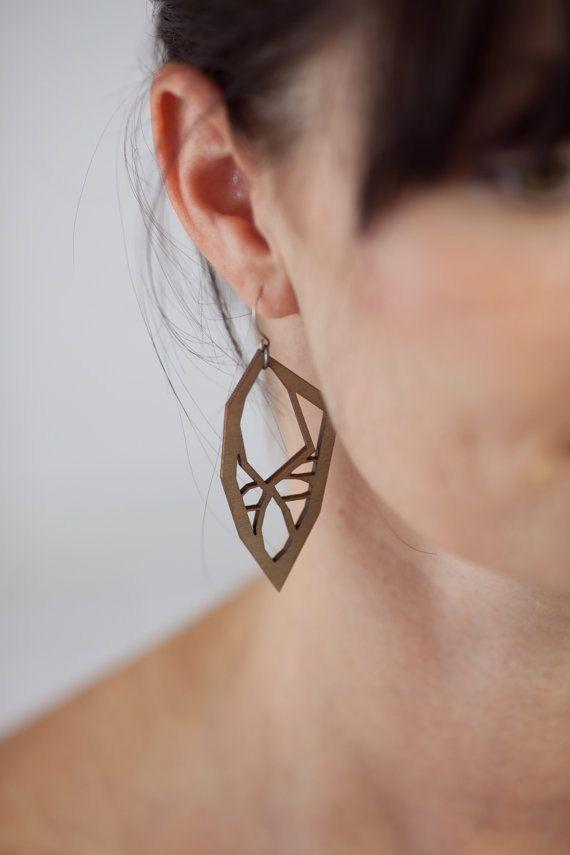 Neutral Earrings Laser Cut Wood Handmade by stationthreegiftco