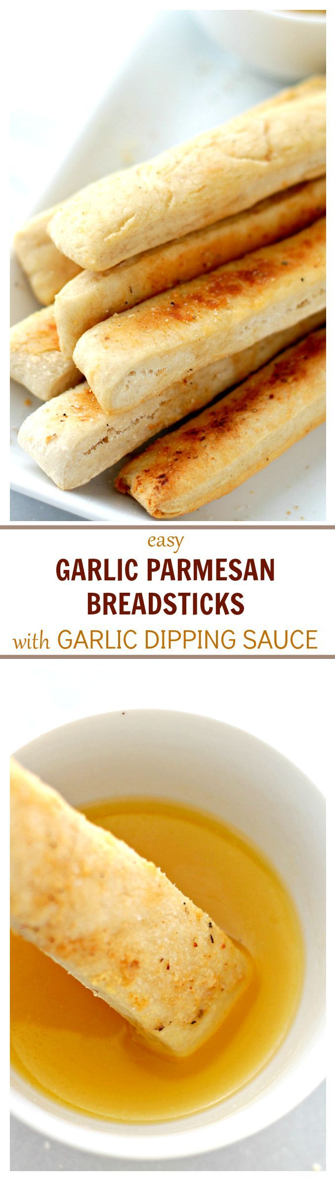 Easy Garlic Parmesan Breadsticks with Garlic Dipping Sauce   www.diethood.com   Sprinkled with Parmesan Cheese and dipped in a delicious Garlic Dipping sauce, these homemade breadsticks are not only easy to make, but they come together in just 30 minutes from start to finish!