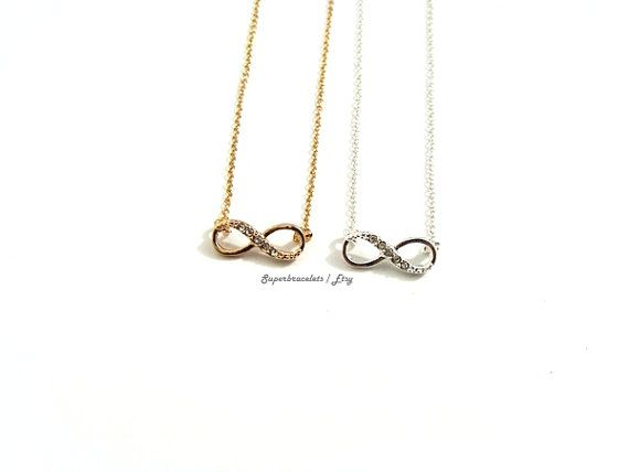 Gold Silver Color Infinity necklace, Half crystal infinity necklace, with Cubic Zirkonia Infinity, Infinity necklace arrives in a gift box