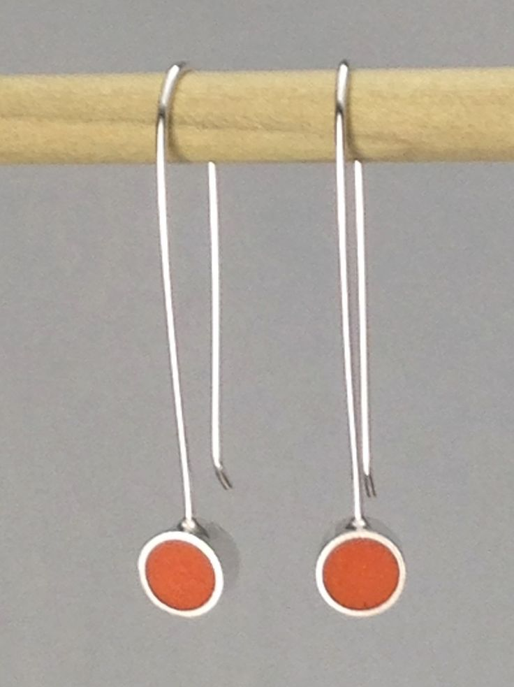 Sterling Silver Static Drop Earrings with Orange Resin Inlay by koren on Etsy