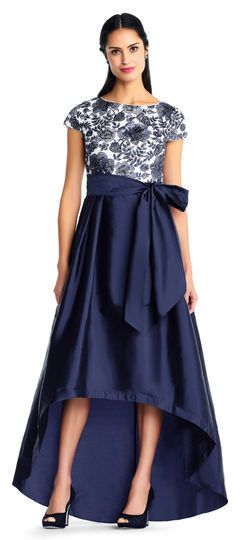 e613f8c445 Short Sleeve High Low Taffeta Ball Gown with Floral Embroidered ...