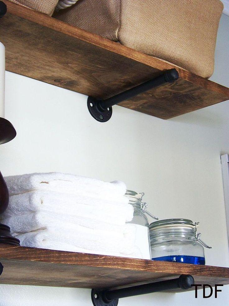 diy shelves using plumbing fixtures as brackets diy and crafts plumbing and shelves. Black Bedroom Furniture Sets. Home Design Ideas