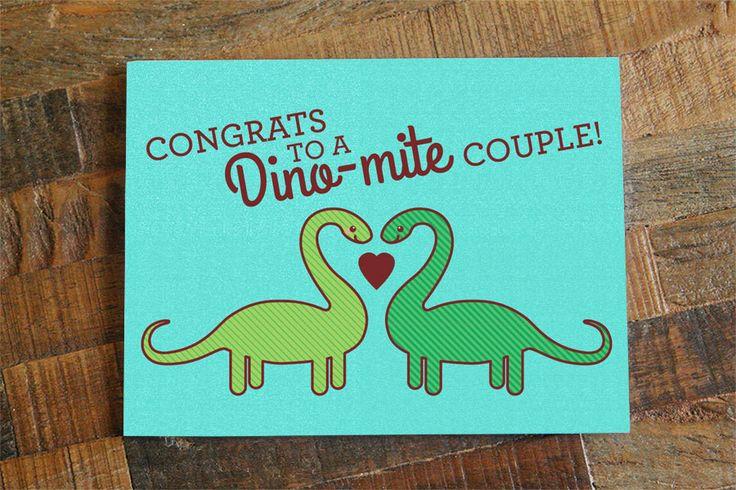 Congrats to a Dino-mite Couple – Cute Wedding Dinosaur Card