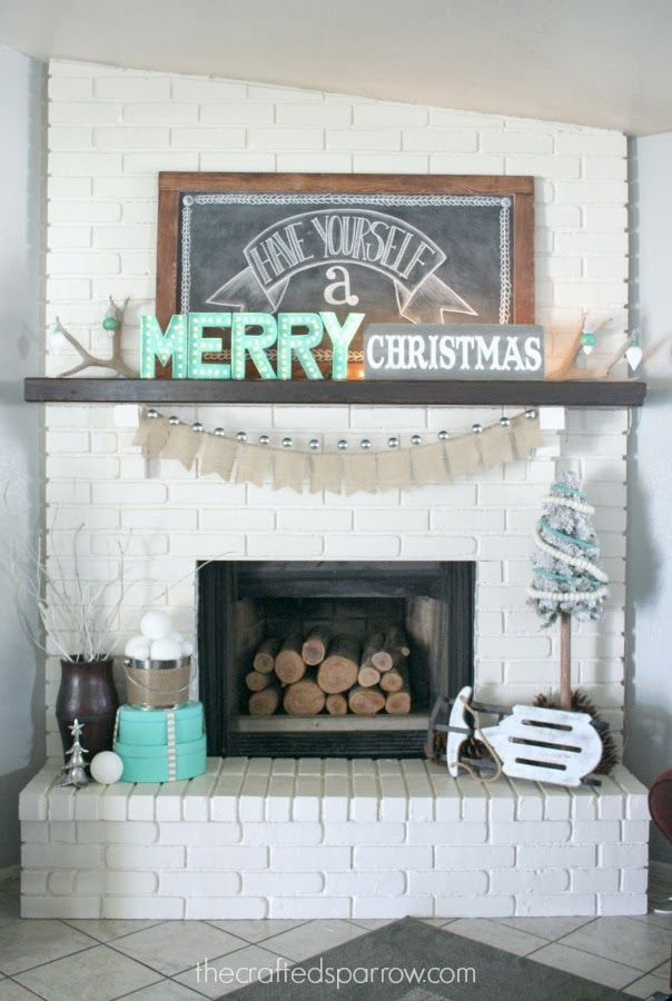 Christmas Mantle.  Chalkboards & Marquee letters. thecraftedsparrow.com
