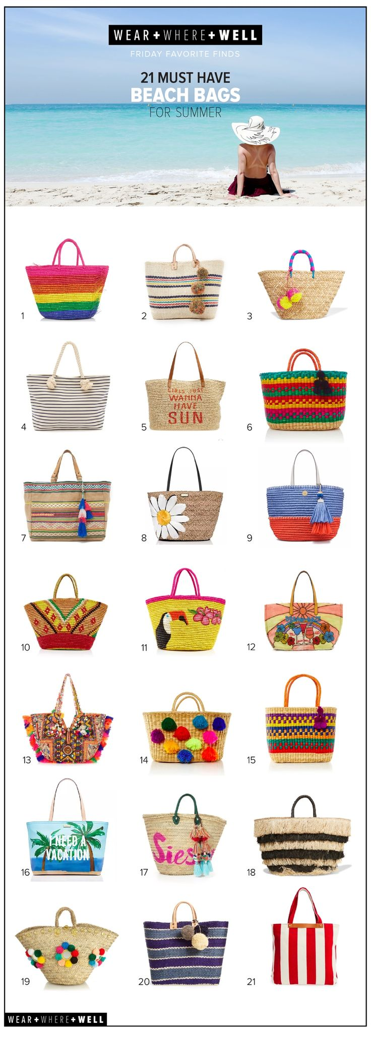 Wear + Where + Well : 21 best beach bags for summer