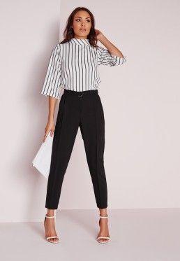 Belted High Waist Cigarette Pants Black