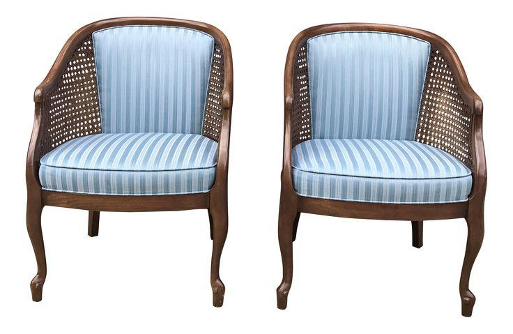 Vintage Cane Barrel Chairs A Pair On Chairishcom