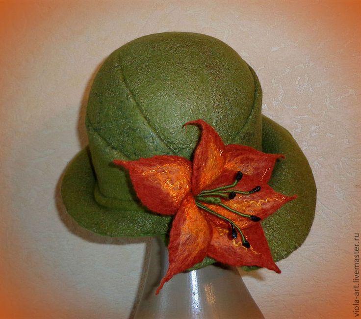 Купить Шляпка Lily Olive - оливковый, шляпка женская, шляпка валяная, войлочная шляпка