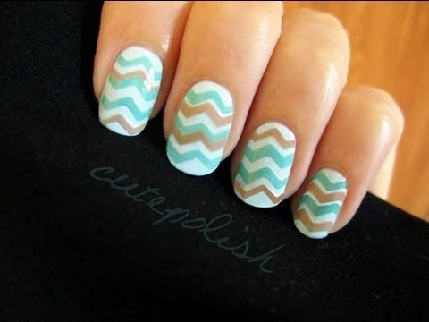 YouTube tutorial on how to get chevron nails with transparent tape and craft scissors.