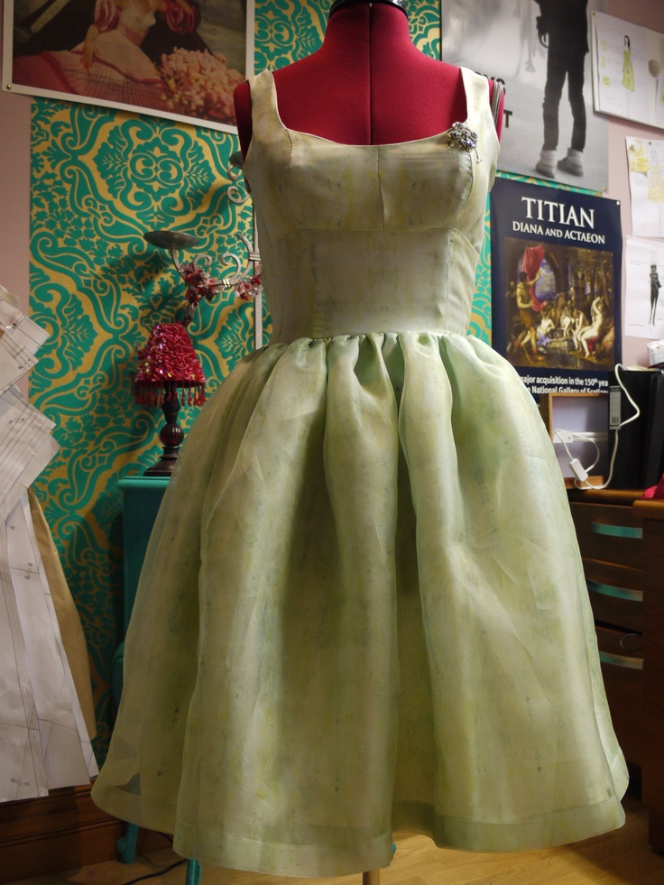 Vintage style dress hand made using self designed fabric of dupion silk and organza
