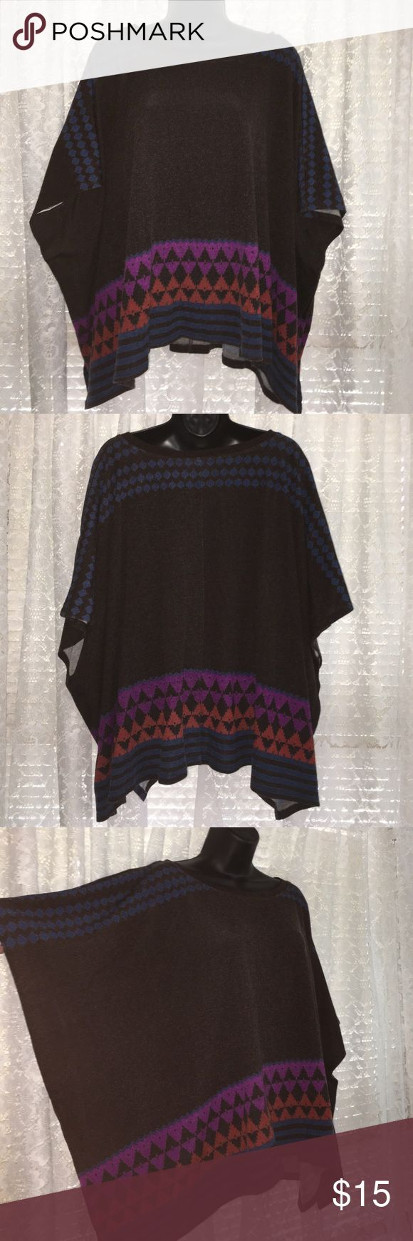 Aztec Print Batwing Top Brown top with aztec print along the hemline and across the shoulder and sleeve. Batwing style. No pulls,  no stains, no rips. slight pilling. Tops