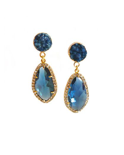 Sapphire Opulent Druzy Earrings - JewelMint