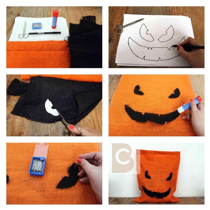Saco con forma de calabaza malvada, realizado con tela de yute. Nuestro DIY de Halloween.