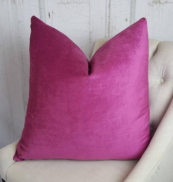 Magenta Rosa Samt Kissenbezug Euro Pillow Sham Wohnzimmer Akzent Kissen UNLINED Dekokissen Sofakissen Designer Kissen