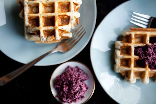 :: Havens South Designs ::  likes Belgian waffles. Here they made with whole wheat flour and healthy seeds, served with maple-blueberry butter!