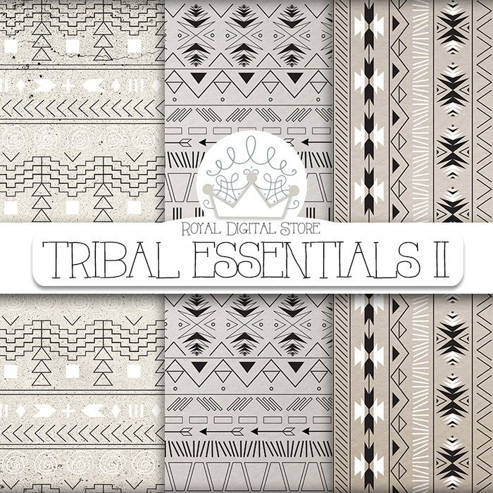 "Aztec digital paper: ""TRIBAL ESSENTIALS II"" with aztec, tribal pattern, background on neutral colors, earth shades, grey, beige #tribal #texture #digitalpaper #woodtexture #scrapbookpaper #planner #partysupplies"