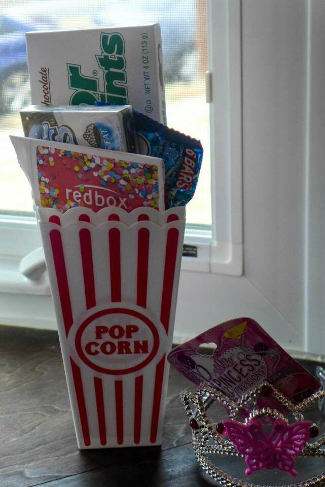 Our baby shower diaper raffle prize - movie candy and Redbox gift card