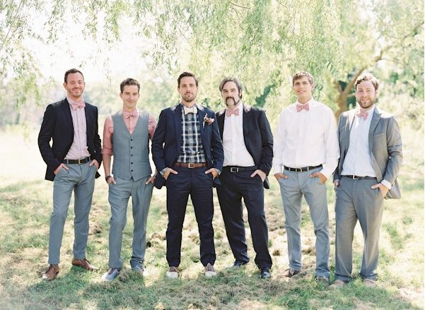 vintage style groomsmen with pink bowties - Natural East Coast Maine Wedding